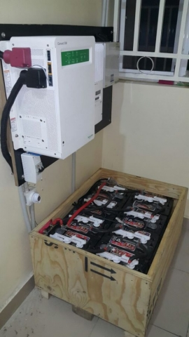 Schneider Inverter and batteries in battery box